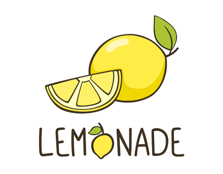 Lemonade logo with lemon and lemon slice. Lettering typography. Fresh drink logo. Hand lettering. Good for badge, print, banner. Ilustração