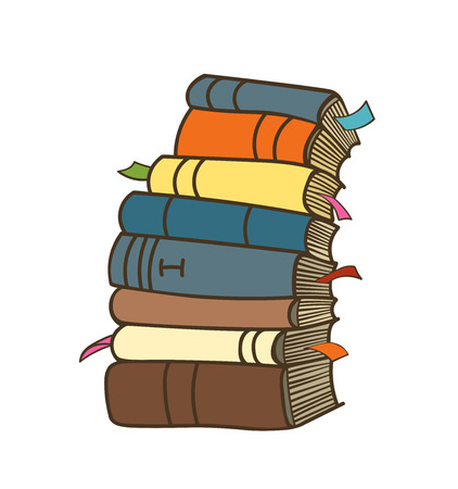 Pile of books. Cartoon stack of books.isolated books on white background. Books with bookmarks. Ilustração