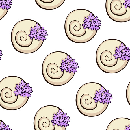 Shell flower pot seamless pattern. Violet flowers pattern.  texture for textile, wrapping, wallpapers and other surfaces.