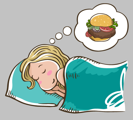 Sleeping blonde girl on a pillow dreaming about burger. Isolated on gray background. Burger dream. Girl on a diet. Ilustração