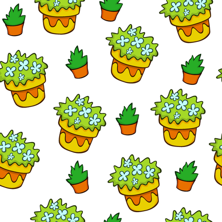 Yellow flowerpot seamless pattern. Outdoor plan pattern. Gardening pattern.  texture for textile, wrapping, wallpapers and other surfaces.