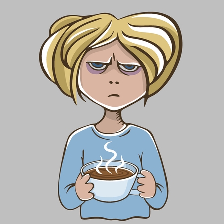 Angry girl with coffee. Isolated on gray background. Unhappy character.