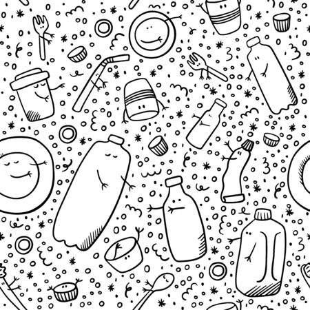 Plastic pattern. Sorting plastic doodles. Non-recyclable trash. Ecology and recycle concept vector. Keep plastic together. Ilustração