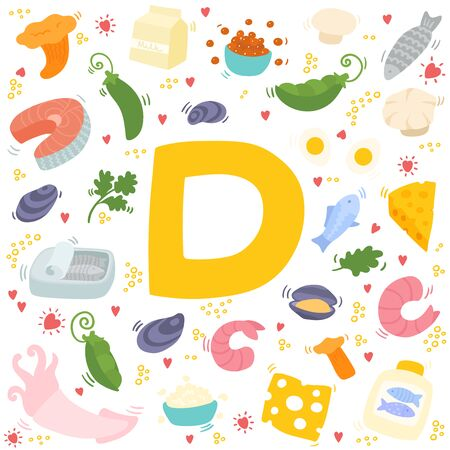 Vitamin D doodles. Hand drawn illustration of different food rich of vitamin D.  Colorful vector illustration. Fish, shrimp, shiitake, mushrooms, eggs, dairy, squid.