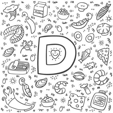 Vitamin D doodles. Hand drawn illustration of different food rich of vitamin D. Set of food with Vitamin D. Vector illustration. Çizim
