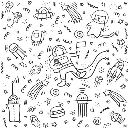 Astronaut doodle. Set of space objects and symbols. Planets and ships.