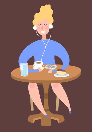 girl_listening_music_at_coffee_shop_table_with_phone_and_cofee