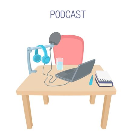 Podcast table with computer, microphone and headphones
