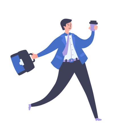 Happy businessman with briefcase and coffee walking to work. Cheerful manager goes to work in rush hour. Young man holding coffee to go with portfolio. Happy to be back at work after isolation.