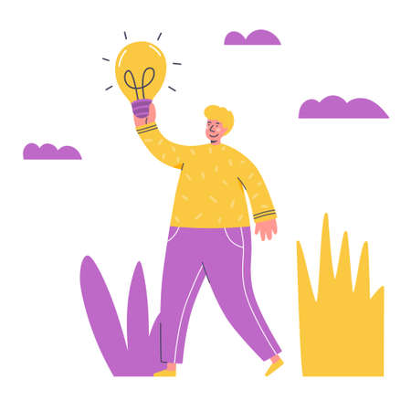 Creativity concept. Man come up with solution and happy about it. Creative approache to problem solving. New innovative conclusion. Vector illustration flat style design. Handsome young man holding light bulb - vector Ilustração