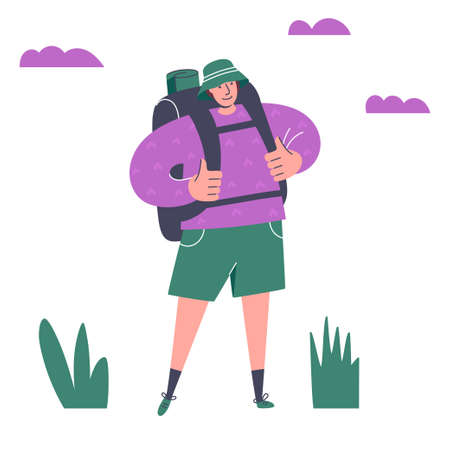 Adventurous young man with backpack. Happy traveller. Summer vacation, outdoor recreation, adventures in nature. Around the world. Tourist with backpack looking away. Concept of discovery, walking, trekking, exploration, hiking, adventure tourism and travel.