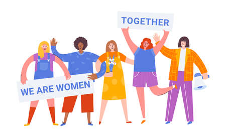 International Women Day. Vector illustration with women different nationalities and cultures. Struggle for freedom, independence, equality. People taking part in parade or rally. Fight for freedom. Иллюстрация
