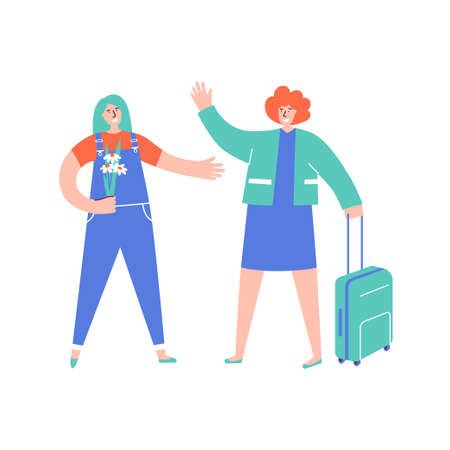 Woman returns from tour and meets her friend with flower. Homecoming concept. Friend happy to see friend after long separation. Get-together after travel with suitcase. Stop lockdown. Quarantine end.