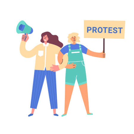 Two women different nationalities holding banner and loudspeaker. Protesting for rights, freedom, independence, equality. Girls taking part in parade or rally. Girl empowerment concept for poster, web