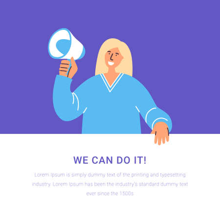 Woman holding banner and loudspeaker calling on for incorporation. Together we are power. International women day. Girl empowerment concept for poster, web banner, website page. Together we can. Иллюстрация