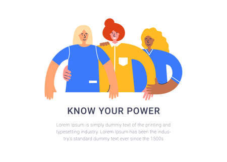 Know your power concept. International Women Day. Women different nationalities and cultures struggling for freedom, independence, equality. People taking part in parade, protest or rally - vector