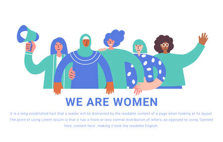 International Women Day. Vector illustration with women different nationalities and cultures. Struggle for freedom, independence, equality. Girls hugging and holding banner. Fight for freedom vector Иллюстрация