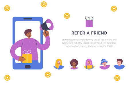 Refer a friend concept. Attract friend. Dark skinned boy shouts on megaphone about referral program Friend sharing referral code concept. Referral marketing strategy banner, landing page, mobile app