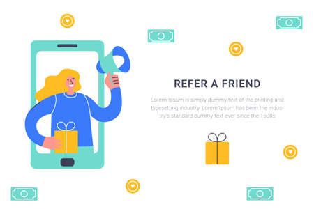 Refer a friend concept. Attract friend. Blonde girl shouts on megaphone about referral program Friend sharing referral code concept. Referral marketing strategy banner, landing page, app