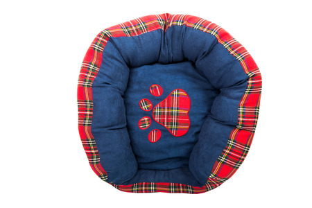 Blue tartan pets bed isolated on white photo