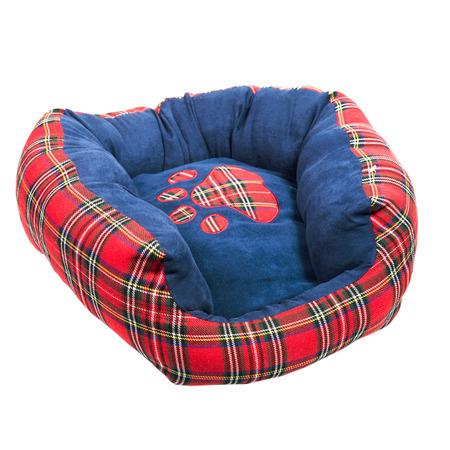 Blue tartan dog bed isolated on white