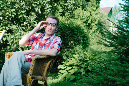 age 30 35 years: Man relax outdoor in his own garden at summer day