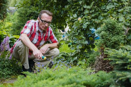 loosen: man loosen the soil in his garden