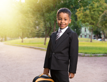 latin primary school student on the park valley