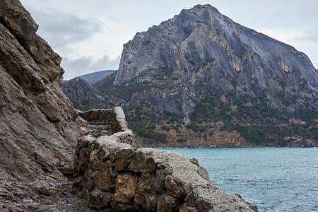 Sea view from the Golitsyn trail near Novyi Svit, Crimea. Standard-Bild