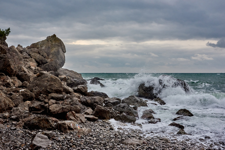 Strong waves and winter windstorm on the Black sea, Crimea.