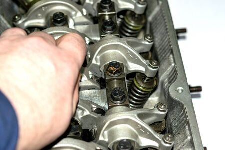 Cylinder head. Repair of the block head in close-up.