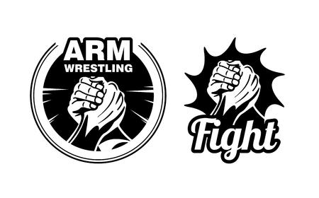 Arm wrestling logo vector illustration.