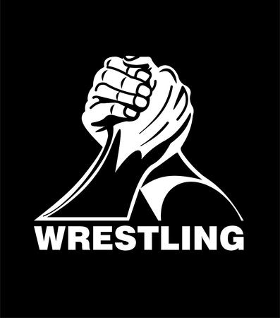 Arm wrestling vector illustration on black background.