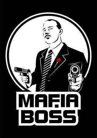 Mafia boss with guns Çizim