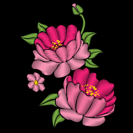 Pink peonies with leaves. Embroidery