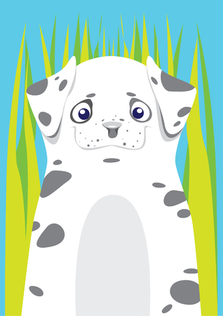 dalmatian: Dalmatian in the grass on blue background Illustration