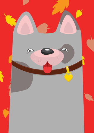 mongrel: A mongrel in the collar under the autumn leaf fall Illustration