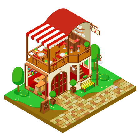 shop furniture: isometric coffee shop with furniture and trees isolated
