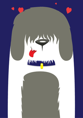large dog: A large shaggy dog on a blue background Illustration