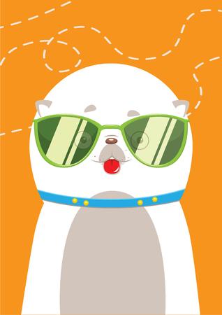 fur cap: Dog Spitz sunglasses summer Illustration
