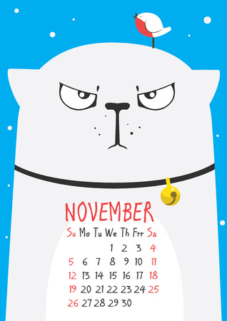 november calendar: thick cute gray cat wearing a collar with a little bird on the head on a blue background. November calendar