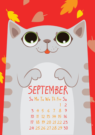 september calendar: gray striped cute cat under falling leaves on red background. September calendar Illustration