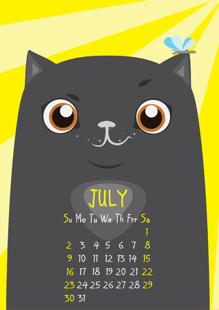 july calendar: Cute black cat on a yellow background with a dragonfly on his ear. July calendar