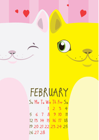 february calendar: White and yellow cat on a pink background with hearts. From cat lovers. February Calendar Illustration