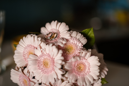 gerbera daisies: Pink gerbera daisies in the bouquet, the wedding rings on the flowers Stock Photo
