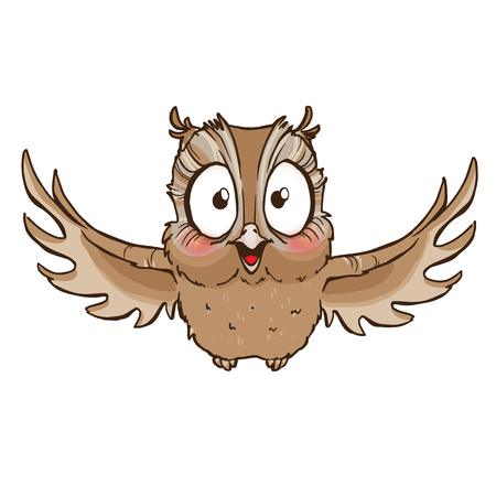 Surprised cute owl with outstretched wings