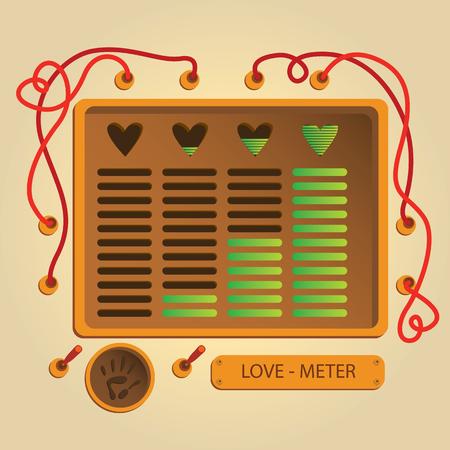 Love meter mashine. card for Valentine's day Vetores
