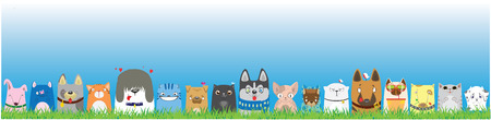 Cartoon dogs and cats on blue sky background. Cute pets background.