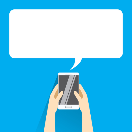 holing: Hands holing white smartphone with blank speech bubble for text. Text messaging flat design concept. Illustration