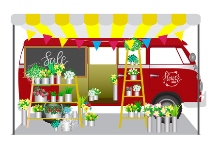plant stand: Flower shop. Flowers shop mobile on wheels. Red car with bouquets of flowers on shelves. Vector illustration. Illustration